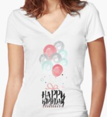 Birthday Greeting Card Women's Fitted V-Neck T-Shirt