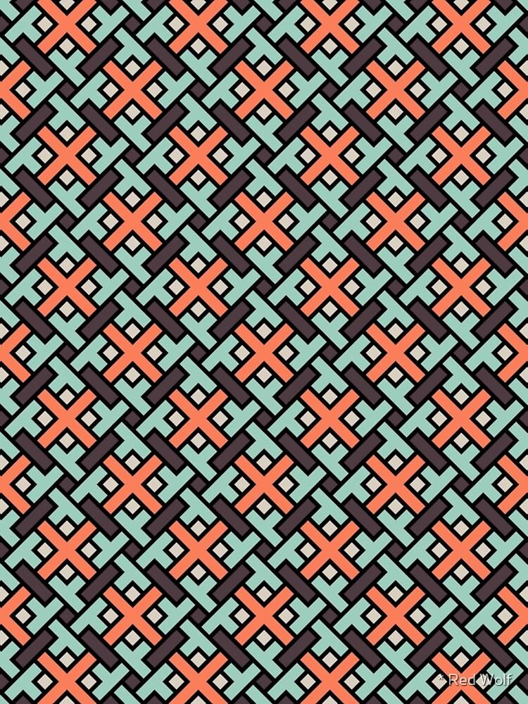 Geometric Pattern: Weave: Red/Green by redwolfoz