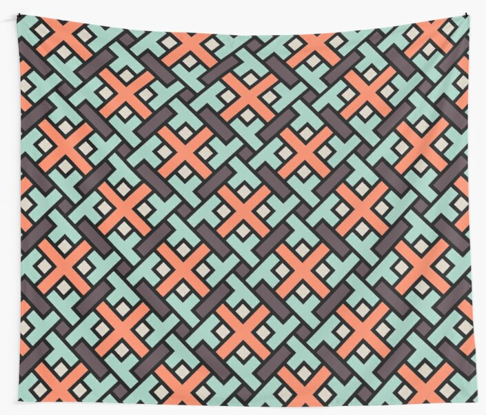 Geometric Pattern: Weave: Red/Green by * Red Wolf