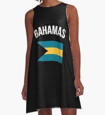 Bahamas-Flagge A-Linien Kleid