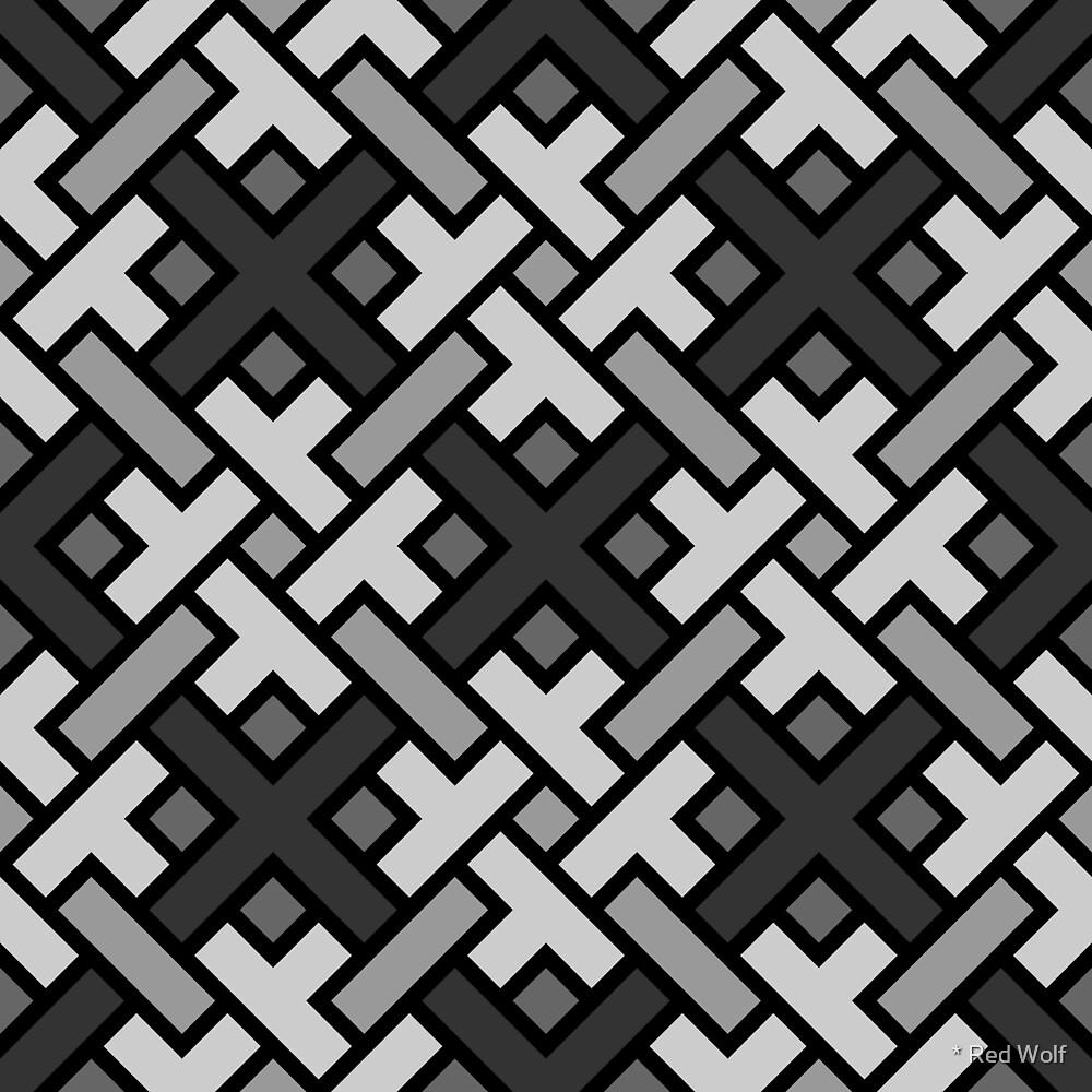 Geometric Pattern: Weave: Monochrome by * Red Wolf
