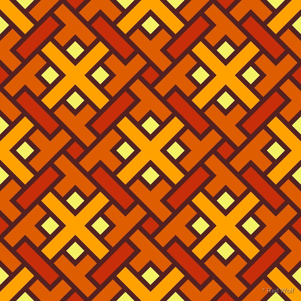 Geometric Pattern: Weave: Orange/Red by * Red Wolf