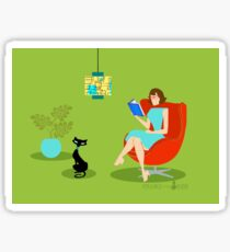 Retro Reading Woman  Sticker