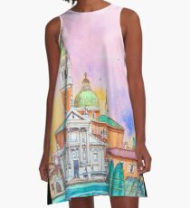 Venice. Isle of San Giorgio Maggiore. Andrea Palladio architecture. watercolor A-Line Dress