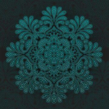 Blue Lagoon - Floral Glow Mandala by SweetSapling