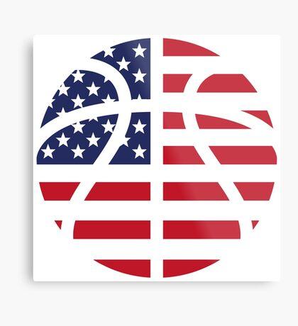American Basketball Flag Metal Print
