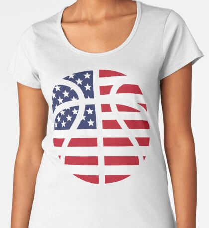 American Basketball Flag Premium Scoop T-Shirt