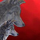2 Wölfe /wolves Version5 von Doris Thomas