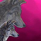 2 Wölfe /wolves Version6 von Doris Thomas