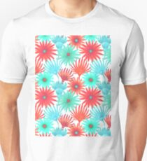 Modern teal orange red watercolor hand painted flowers T-Shirt
