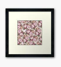 Vintage blush pink burgundy roses floral painting Framed Print
