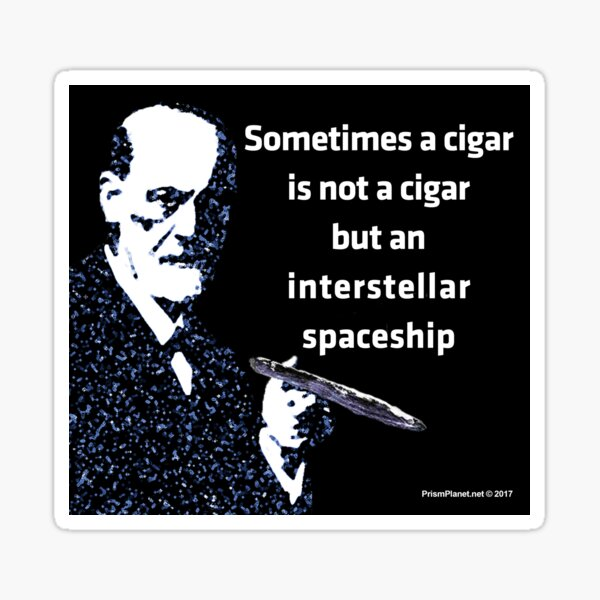 Freud and the Cigar-shaped Asteroid Sticker