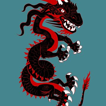 Black Dragon with Red Style by Lines