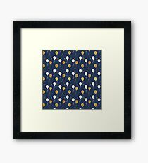 Modern navy blue faux gold glitter balloons Framed Print