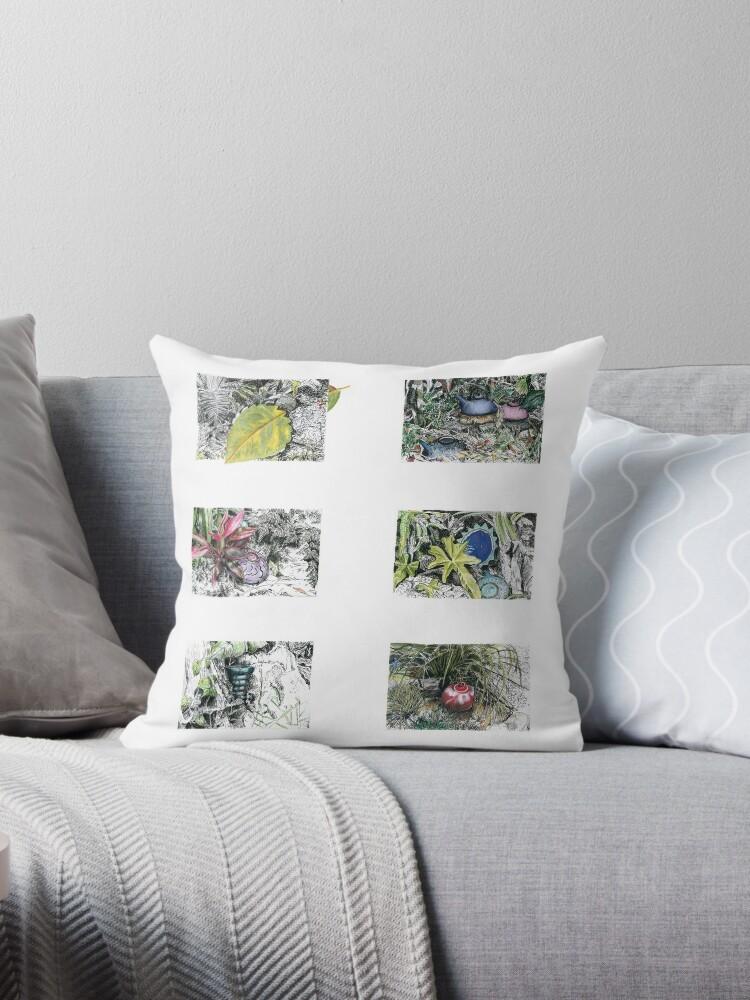 A Potter's Garden (Throw Pillow) by Kerryn Madsen-Pietsch