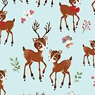 Vintage Christmas Reindeer Family by Michelle  Grace
