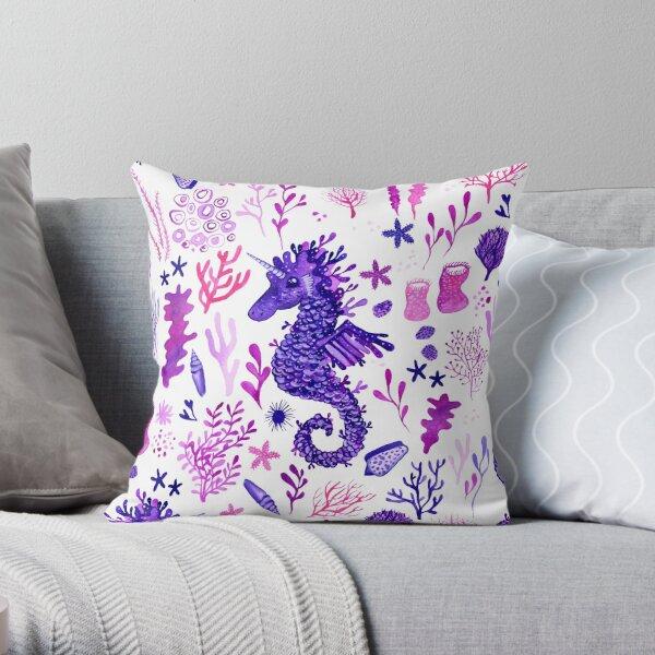 Sea Unicorns - White Throw Pillow