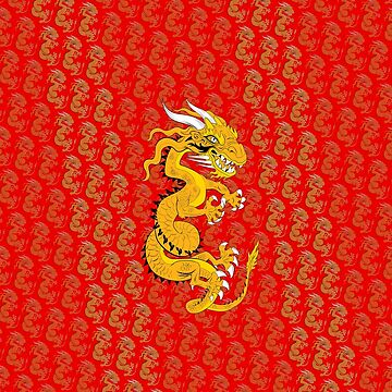 Golden Dragon on Red by Lines