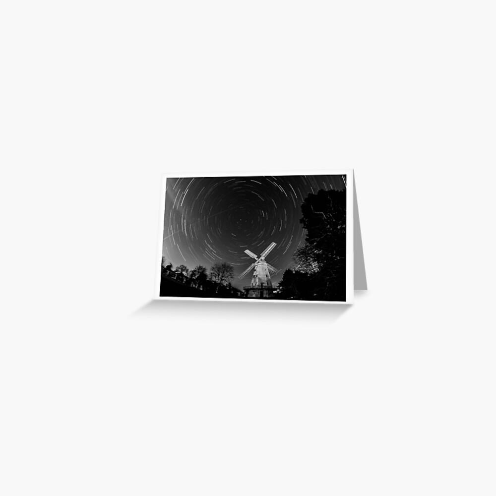 Star Trail - Upminster Windmill Greeting Card