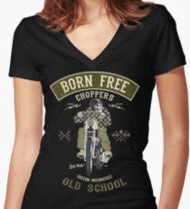 Born Free - Custom Motorcycle Tailliertes T-Shirt mit V-Ausschnitt