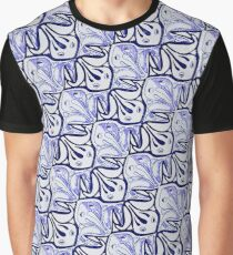 Symmetric Frog Tessellation in Blue Graphic T-Shirt