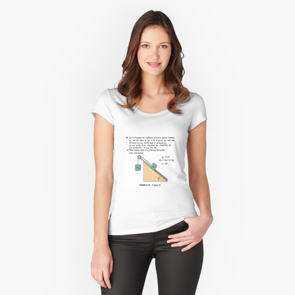 Physics problem: Suppose the coefficient of kinetic friction between the mass and the plane is known. #Physics #Education #PhysicsEducation,  Fitted Scoop T-Shirt