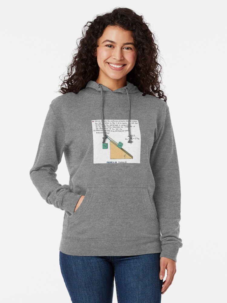 Alternate view of Physics problem: Suppose the coefficient of kinetic friction between the mass and the plane is known. #Physics #Education #PhysicsEducation,  Lightweight Hoodie