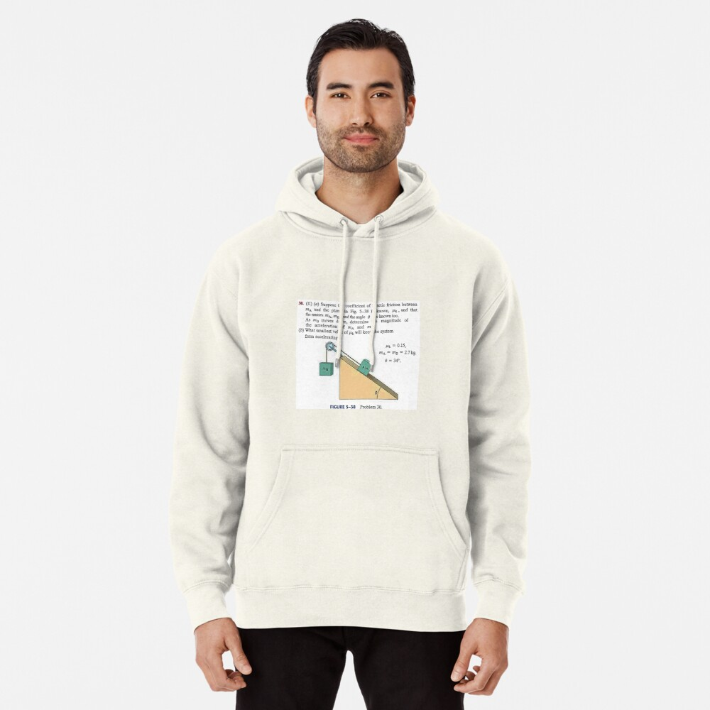 Physics problem: Suppose the coefficient of kinetic friction between the mass and the plane is known. #Physics #Education #PhysicsEducation,  Pullover Hoodie