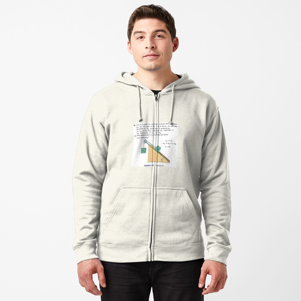 Physics problem: Suppose the coefficient of kinetic friction between the mass and the plane is known. #Physics #Education #PhysicsEducation,  Zipped Hoodie