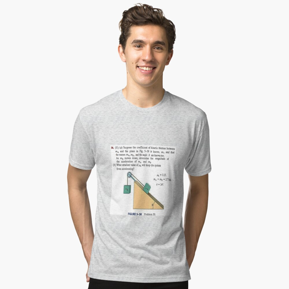 Physics problem: Suppose the coefficient of kinetic friction between the mass and the plane is known. #Physics #Education #PhysicsEducation,  Tri-blend T-Shirt