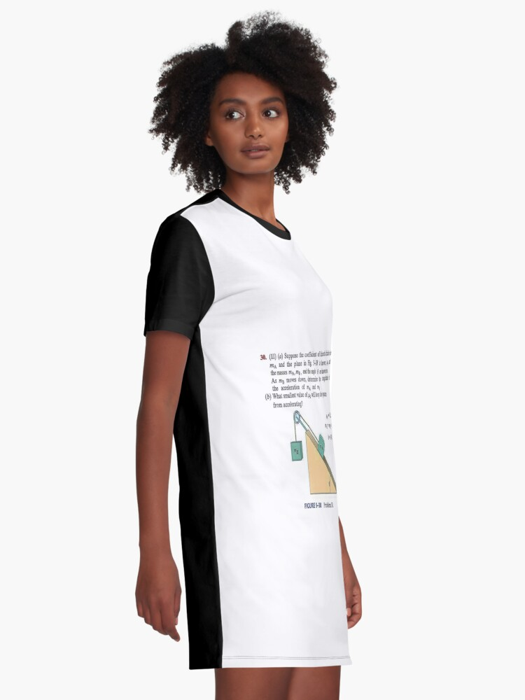 Alternate view of Physics problem: Suppose the coefficient of kinetic friction between the mass and the plane is known. #Physics #Education #PhysicsEducation,  Graphic T-Shirt Dress