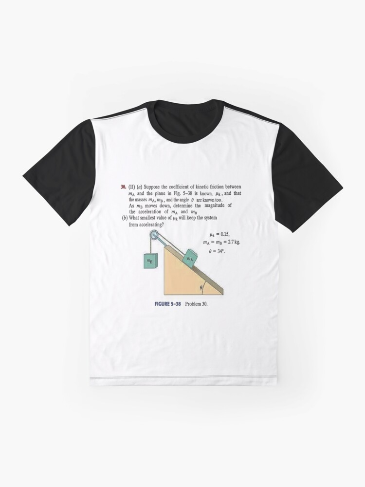 Alternate view of Physics problem: Suppose the coefficient of kinetic friction between the mass and the plane is known. #Physics #Education #PhysicsEducation,  Graphic T-Shirt