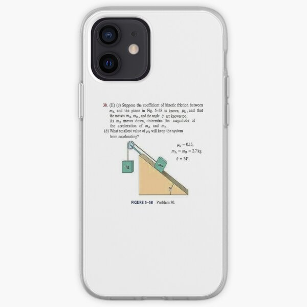 Physics problem: Suppose the coefficient of kinetic friction between the mass and the plane is known. #Physics #Education #PhysicsEducation,  iPhone Soft Case