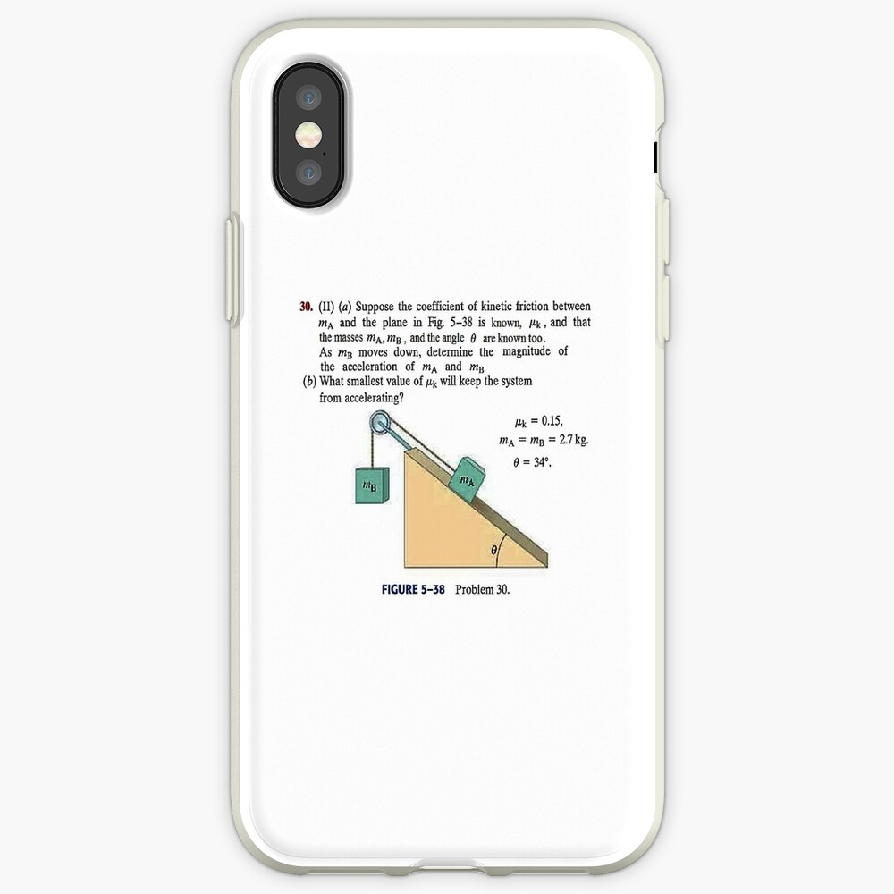 Physics problem: Suppose the coefficient of kinetic friction between the mass and the plane is known. #Physics #Education #PhysicsEducation,  iPhone Case & Cover