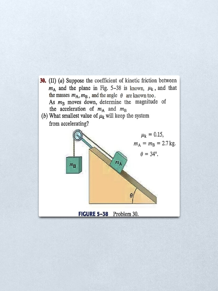 Alternate view of Physics problem: Suppose the coefficient of kinetic friction between the mass and the plane is known. #Physics #Education #PhysicsEducation,  Metal Print