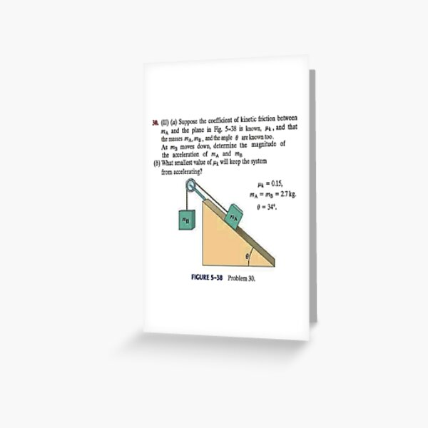 Physics problem: Suppose the coefficient of kinetic friction between the mass and the plane is known. #Physics #Education #PhysicsEducation,  Greeting Card