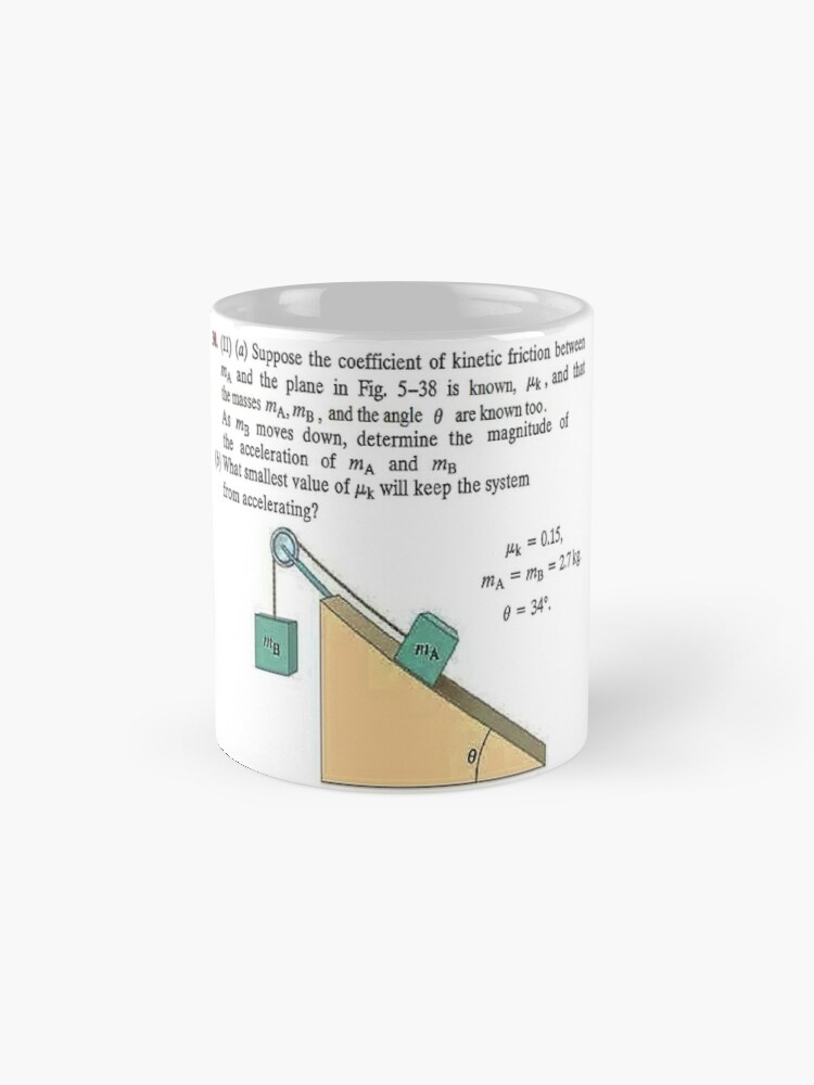 Alternate view of Physics problem: Suppose the coefficient of kinetic friction between the mass and the plane is known. #Physics #Education #PhysicsEducation,  Mug
