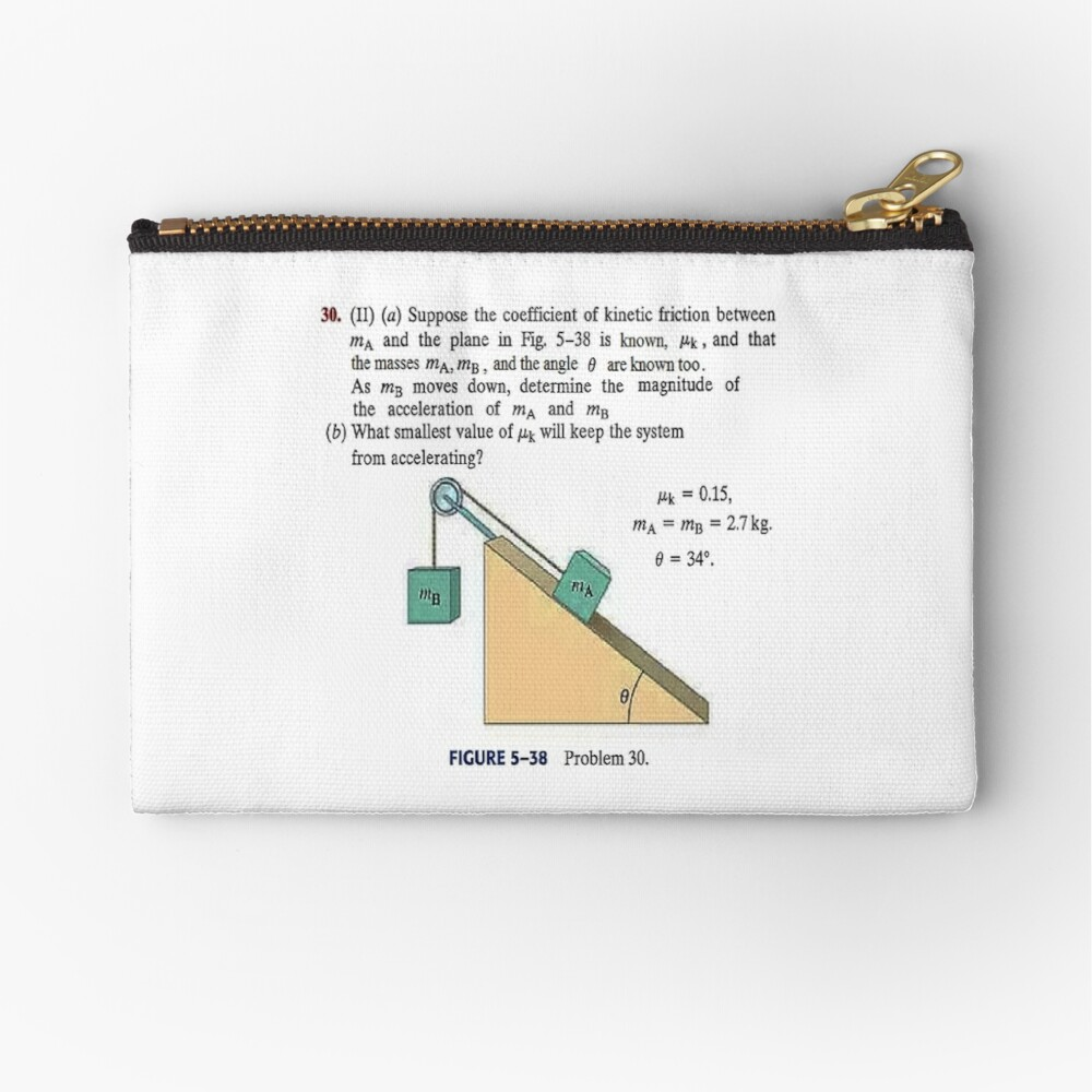 Physics problem: Suppose the coefficient of kinetic friction between the mass and the plane is known. #Physics #Education #PhysicsEducation,  Zipper Pouch