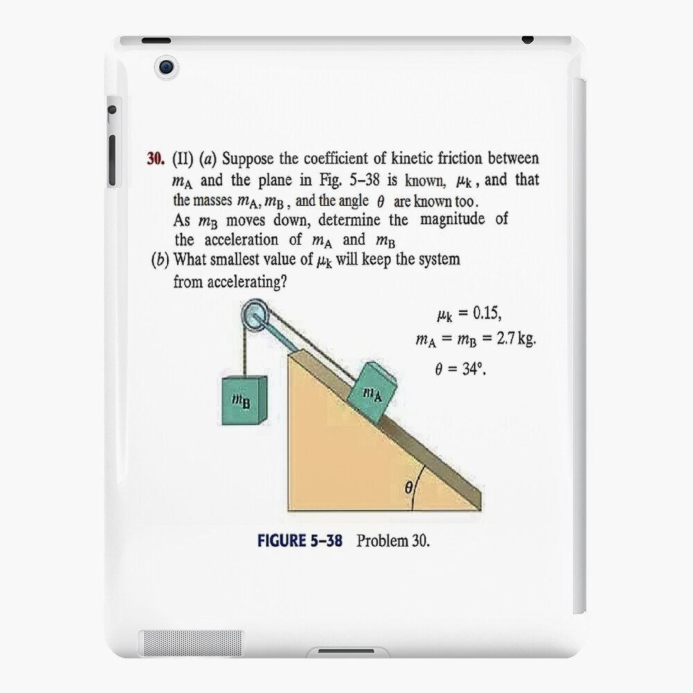 Physics problem: Suppose the coefficient of kinetic friction between the mass and the plane is known. #Physics #Education #PhysicsEducation,  iPad Case & Skin