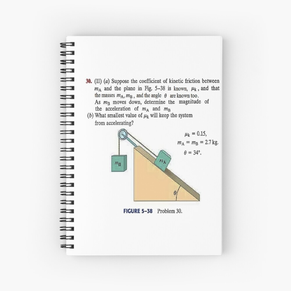 Physics problem: Suppose the coefficient of kinetic friction between the mass and the plane is known. #Physics #Education #PhysicsEducation,  Spiral Notebook