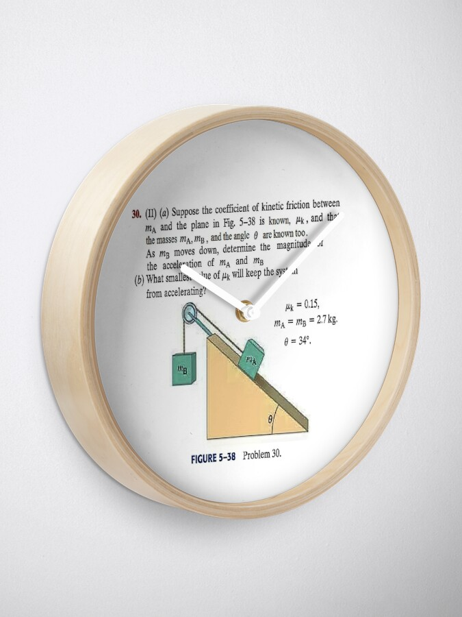 Alternate view of Physics problem: Suppose the coefficient of kinetic friction between the mass and the plane is known. #Physics #Education #PhysicsEducation,  Clock