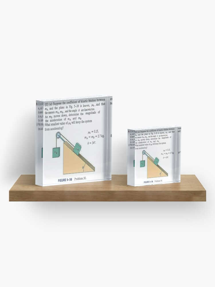 Alternate view of Physics problem: Suppose the coefficient of kinetic friction between the mass and the plane is known. #Physics #Education #PhysicsEducation,  Acrylic Block