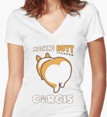 Nothing Butt Corgis Funny Corgi Butt Cool Humor Gift Women's Fitted V-Neck T-Shirt
