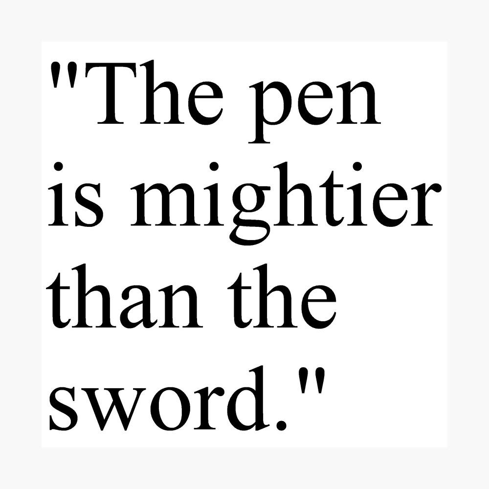 "Proverb: ""The pen is mightier than the sword."" #Proverb #pen #mightier #sword. Пословица: ""Перо сильнее меча"" Photographic Print"