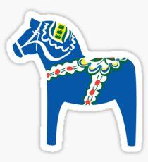 Dalahäst - Dalapferd - blau - blå Sticker