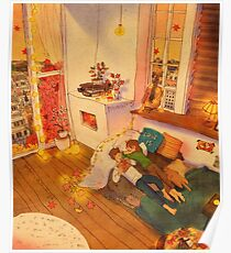 Reading books in fal Poster