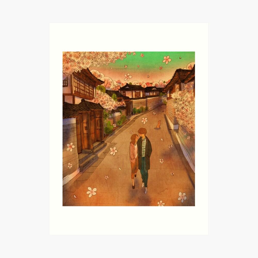Hanok Village in spring Art Print