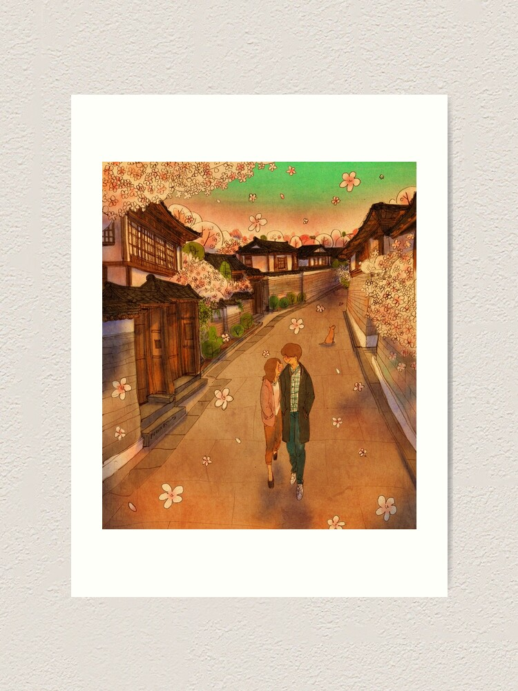 Alternate view of Hanok Village in spring Art Print