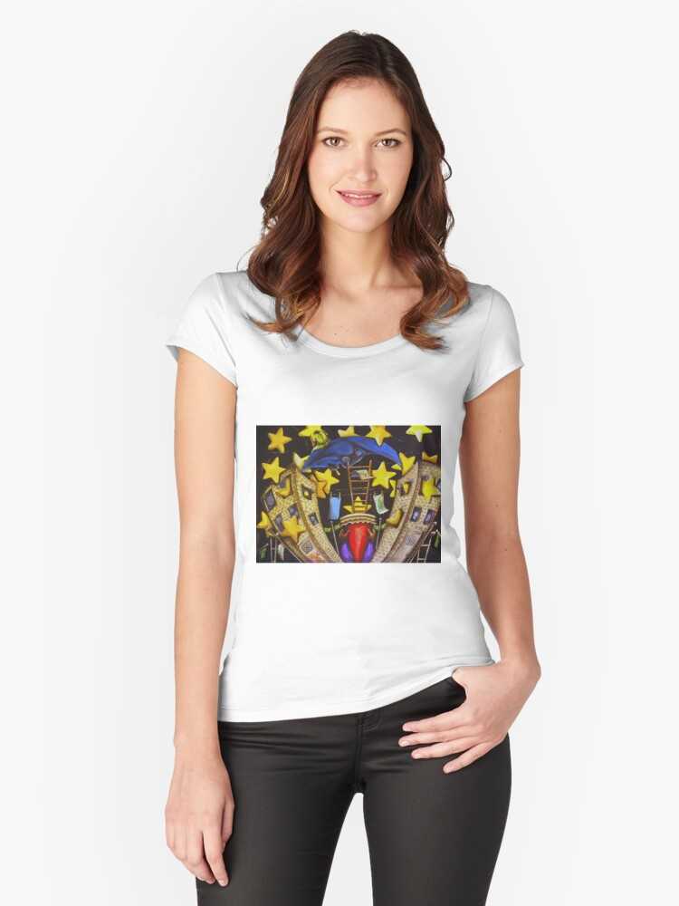 A Starry Night in The Bronx Women's Fitted Scoop T-Shirt Front