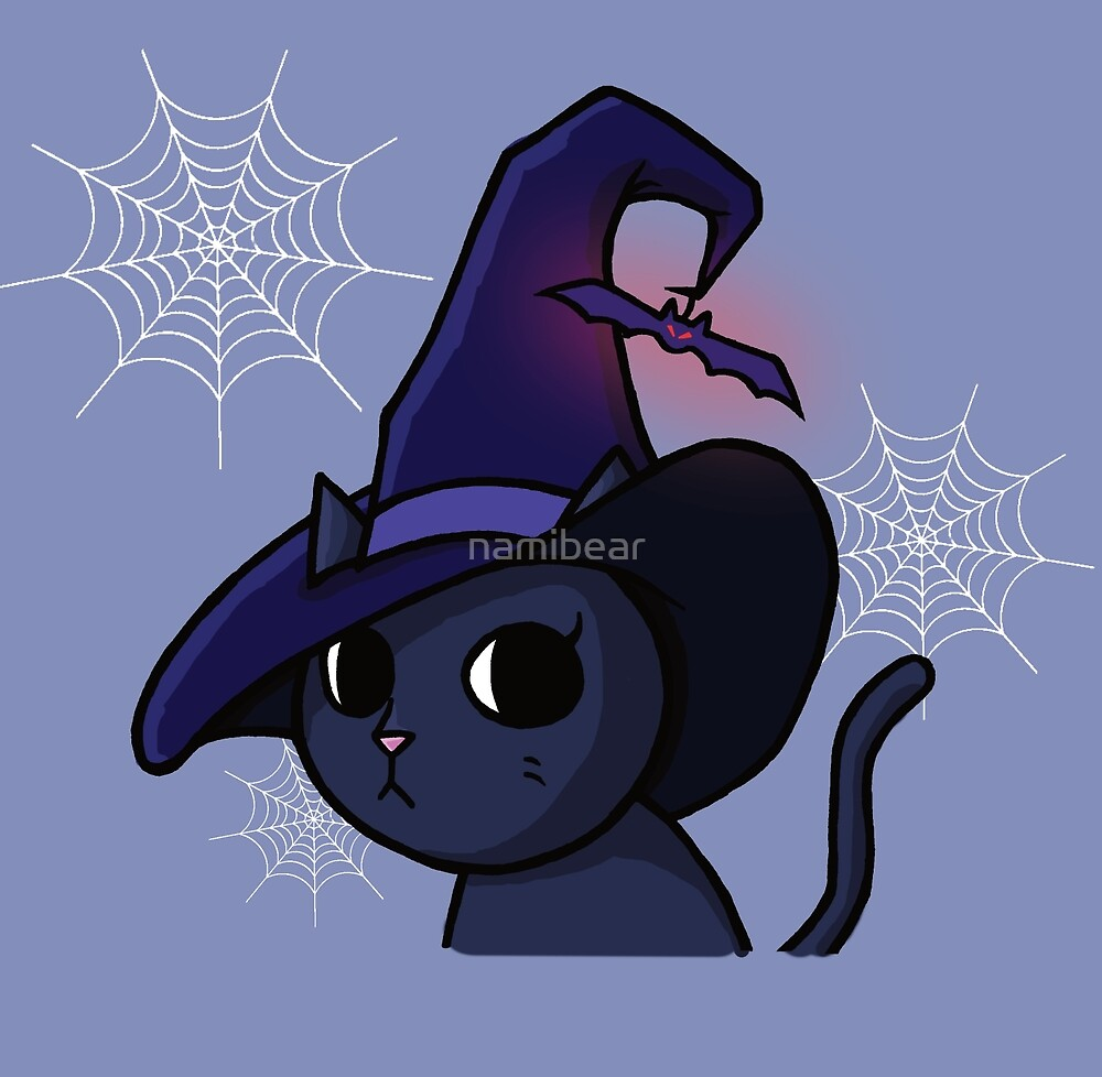 Halloween Witch Cat Cartoon Illustration by namibear